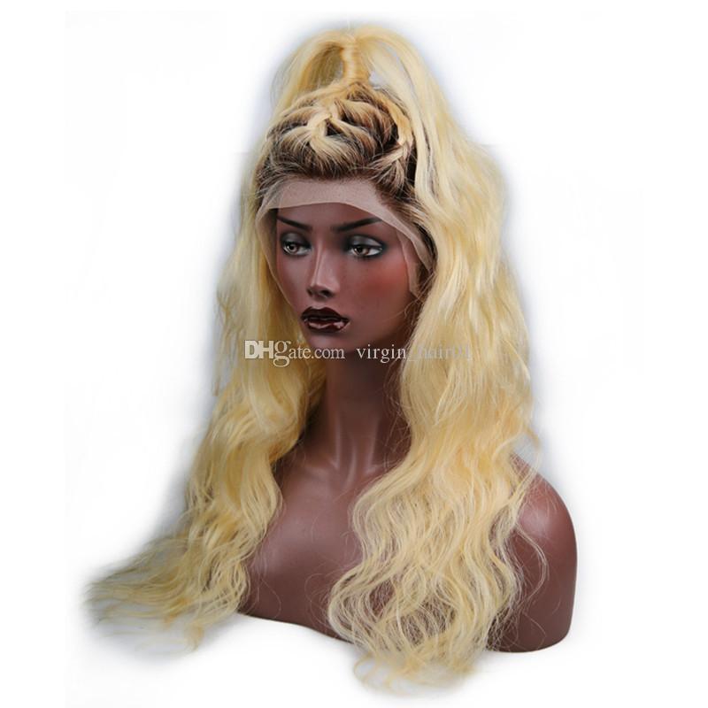 1b 613 Blonde Körperwelle Menschenhaarperücken Zwei Ton Schwarz zu Blonde Volle Spitzeperücke # 613 Menschenhaar Glueless Perücken Schnelles Verschiffen