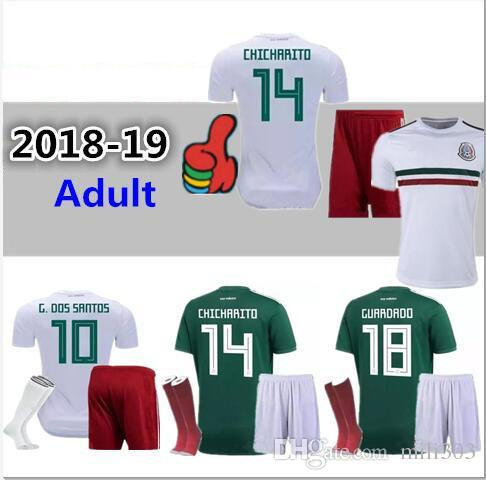 ba1f96b4b 2019 Top Quality 18 19 World Cup Mexico National Adult Soccer Jersey Kit 18  19 G.Dos Santos CHICHARITO O.PERALTA H.LOZANO Football Shirt Uniform From  ...