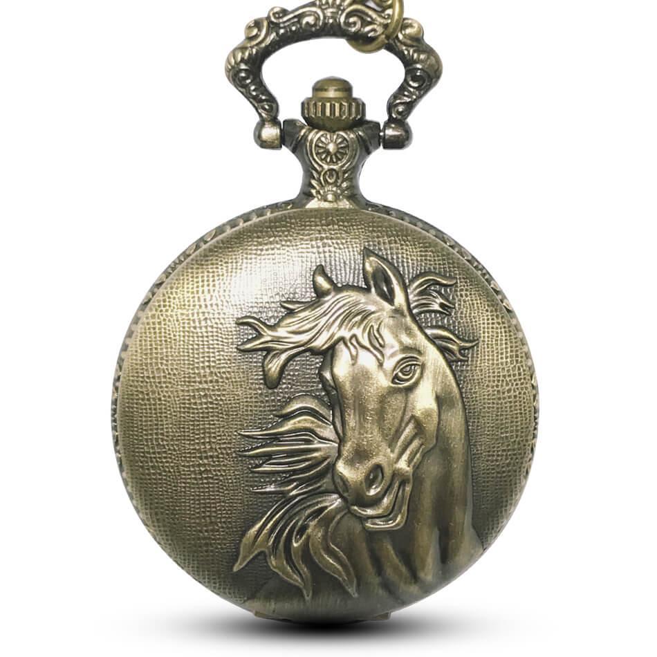 256c6a4c660 Compre Bronze Cavalo Relógio De Bolso Cadeias Colar Vintage Gravado Relógios  De Bolso De Quartzo Steampunk Para Homens Mulheres Presentes Reloj De  Bolsillo ...