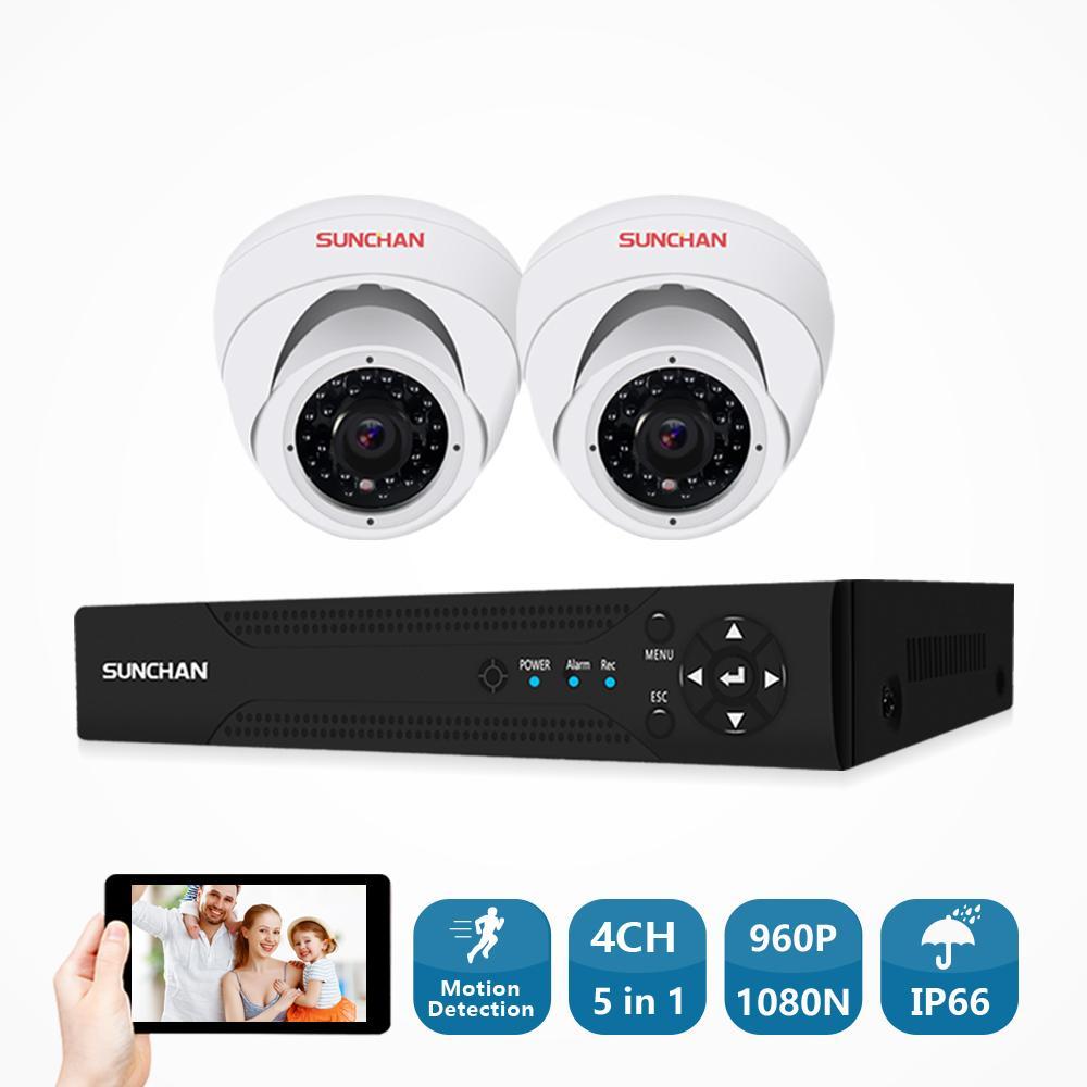 5227debaf31dc Compre SUNCHAN 4CH DVR Sistema De CCTV Câmeras 1.3MP IR Ao Ar Livre Indoor  Câmera De Segurança 960 P Kit De Vigilância De Vídeo Casa CCTV Set De  Camerashome ...