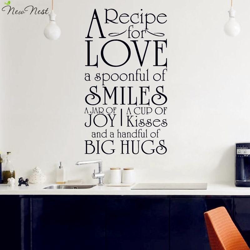 A Recipe For Love Kitchen Decals Vinyl Wall Sticker Quotes Decals Removable  Art Home Decor, Kitchen Stickers Art Removable Wall Art Decals Removable  Wall ...
