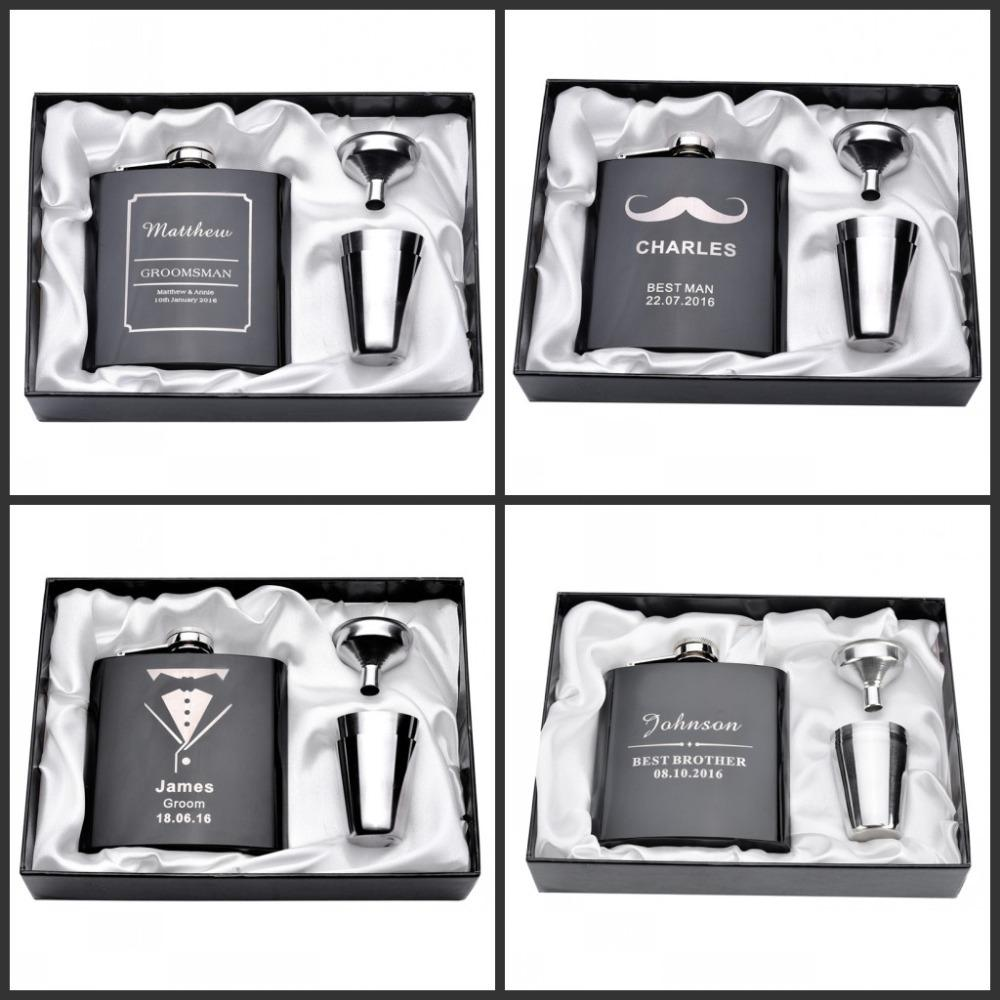 Personalized Engraved 6oz Hip Flask Set Stainless Steel Funnel Gift