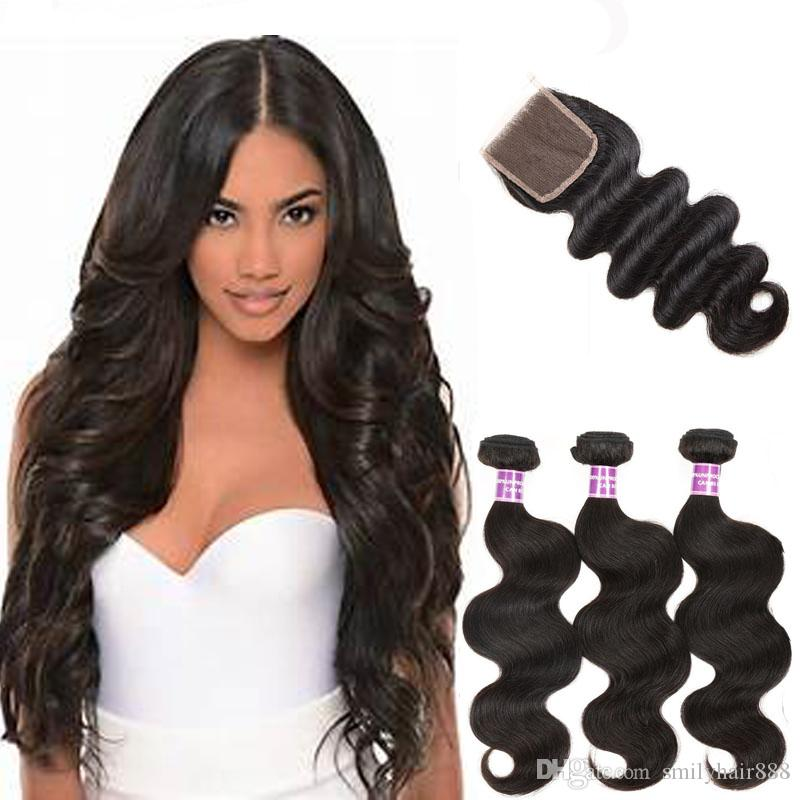 Smily Hair products indian virgin remy closure with 3 bundles hair weft body wave indian hair weaving with closure