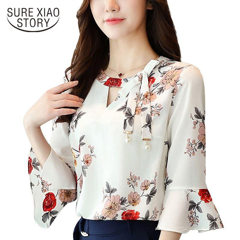 f55f2ee225d83 2019 2018 New Flower Printing Women Blouses Shirt Flare Sleeve Chiffon  Women S Clothing Casual V Collar Bow Women Tops Blusas D278 30 From  Lin and zhang