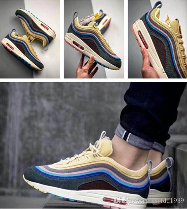 05d388575a6c 2018Maxxes1 97Wholesale New Sean Wotherspoon Men Running Shoes Women  Fashion Yellow White High Quality Sports Sneakers Trainers Size 36 45  Running Sneakers ...