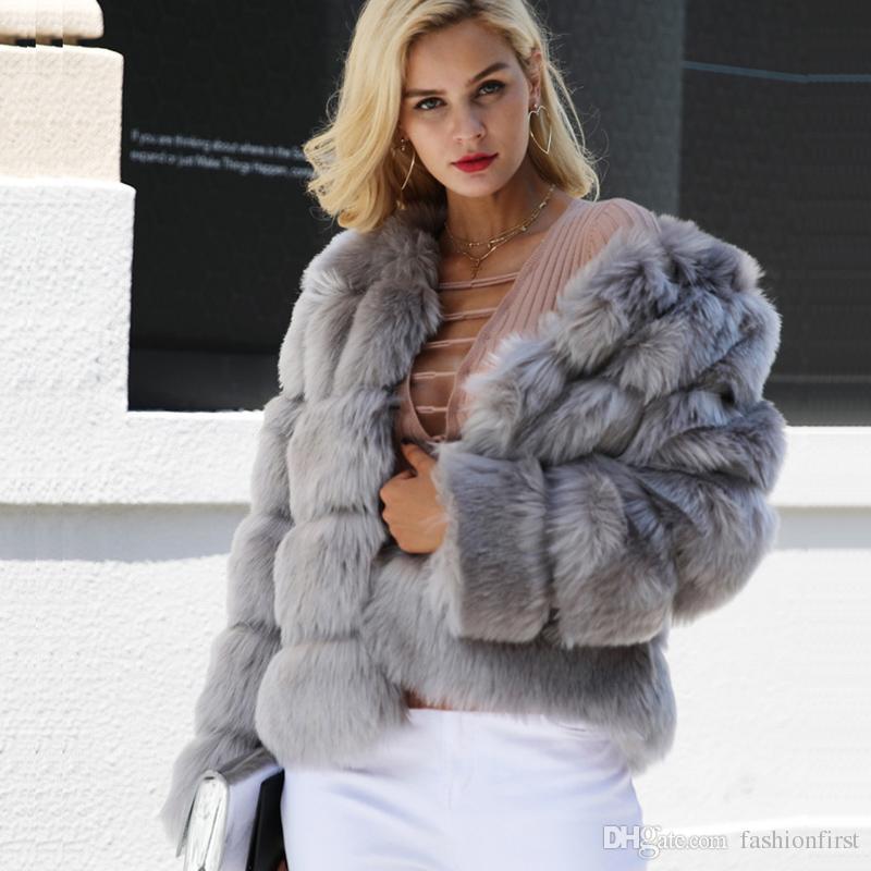 431259710f74 Acquista Abbigliamento Donna Taglie Forti Bianco Rosso Nero Grigio Blu Pelliccia  Sintetica Cappotto Sfocato Manica Lunga Corta Pelliccia Di Volpe Giacca ...