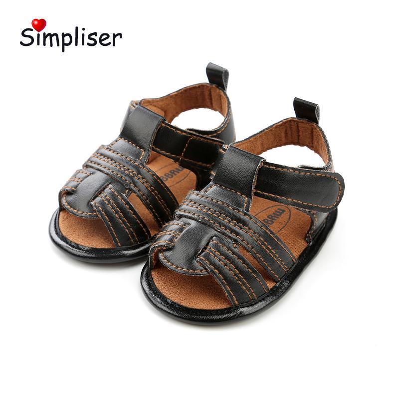 e9a2084a6 Compre Sandalias De Cuero Del Dedo Del Pie Abierto Para 0 18 Meses Bebés  Recién Nacidos Niños Antideslizantes Suaves Zapatos Para Niños Pequeños  Zapatos ...