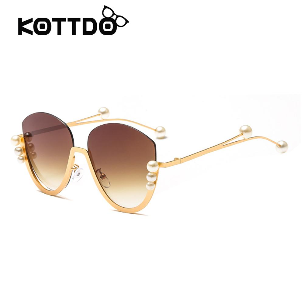 ea0a1c64cd7 Semi Rimless Style Sunglasses Women Newest Women Sun Glasses Pearl Half  Frame Gold Eyeglasses Clear Lenses Eyewear Shades UV400 Sunglasses Hut  Reading ...