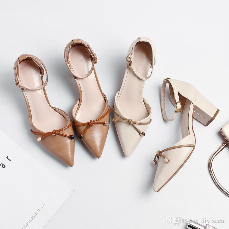 76be34698ea Fashion Women S 2018 Summer Wild Sandals Chunky Heel Pointed Toes Genuine  Leather Simple And Comfortable Women Shoes Pink Shoes Salt Water Sandals  From ...