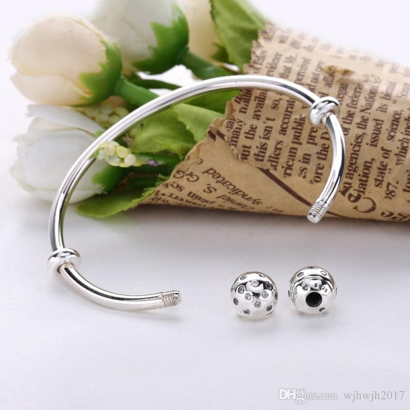 Shimmering Open Cuff Clear Crystal Bracelets & Bangles 925 Sterling Silver Bangles For Women Jewelry Accessories DIY Beads Bracelet Femme