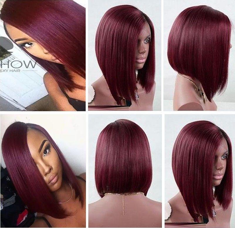 9a Grade Burgundy Bob Full Lace Wig Virgin Brazilian Hair Silky Straight Natural Color Long Bob Cut Lace Front Wig