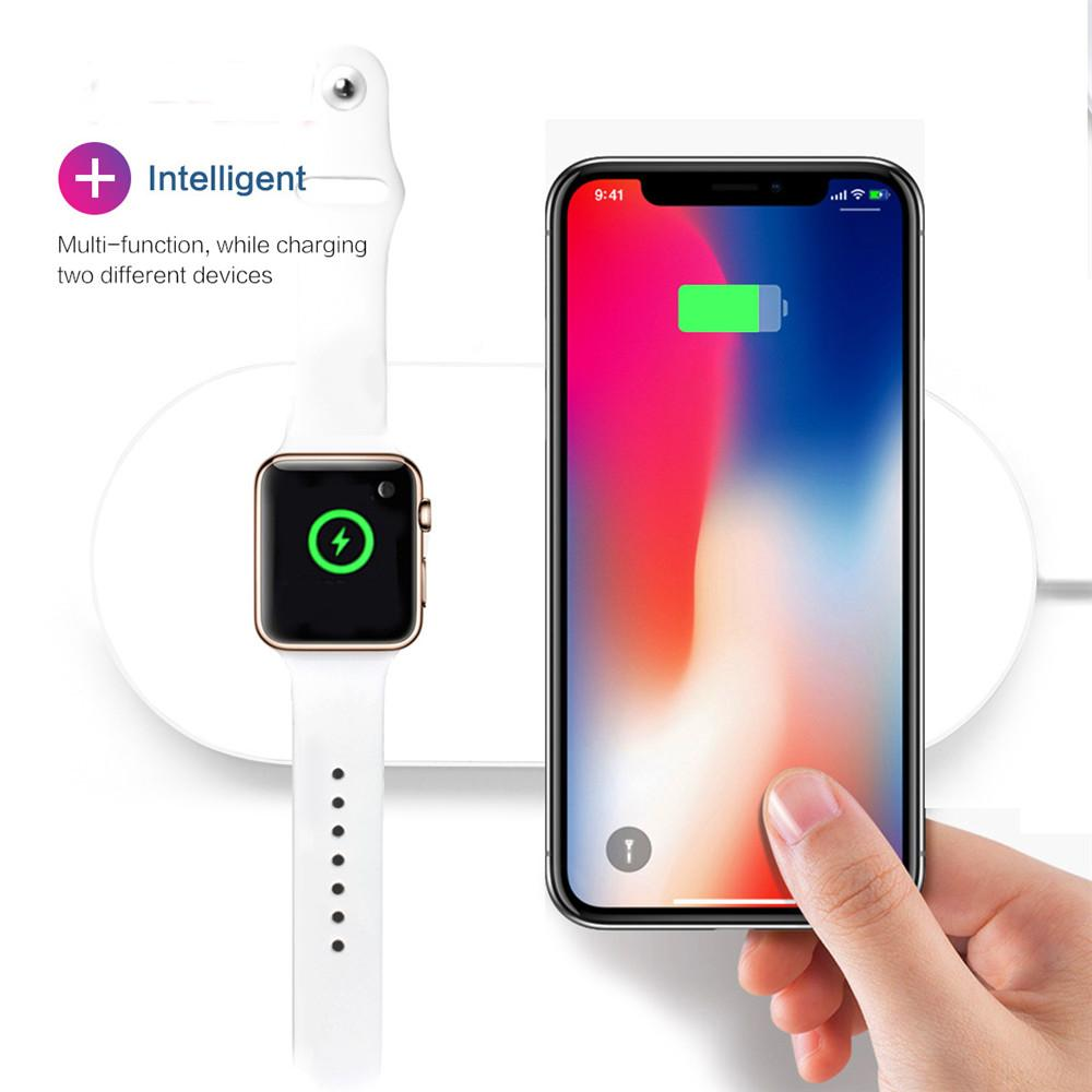 hot sale online 3e139 9ad12 2 in 1 for Apple Watch Series Wireless Charger Charging Pad For iPhone X 8  Charge for Samsung Galaxy S9