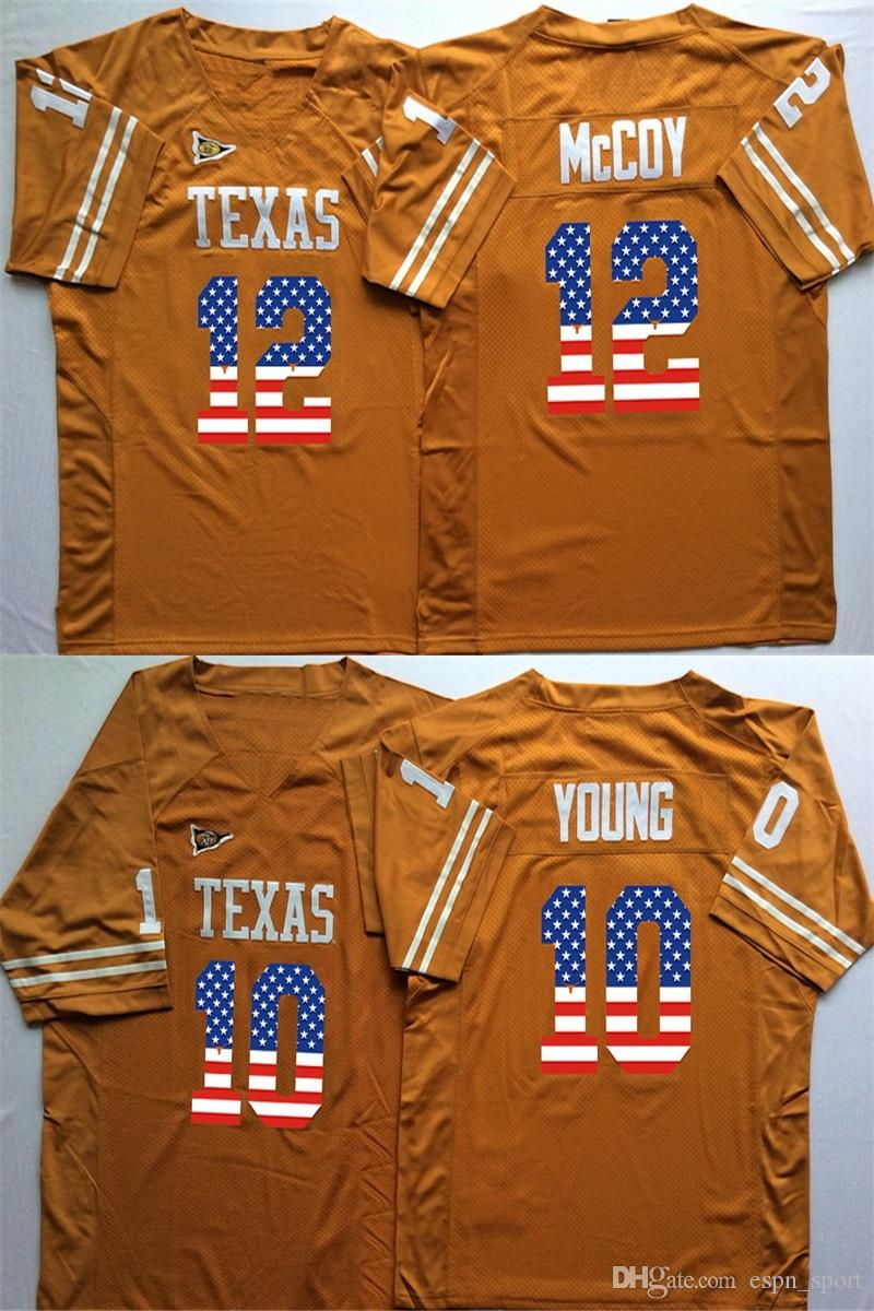 2019 Factory Outlet NCAA Texas Longhorns 10 Vince YOUNG 12 Colt McCoy  College Football Jersey Sewing Logos bd4cdccc1