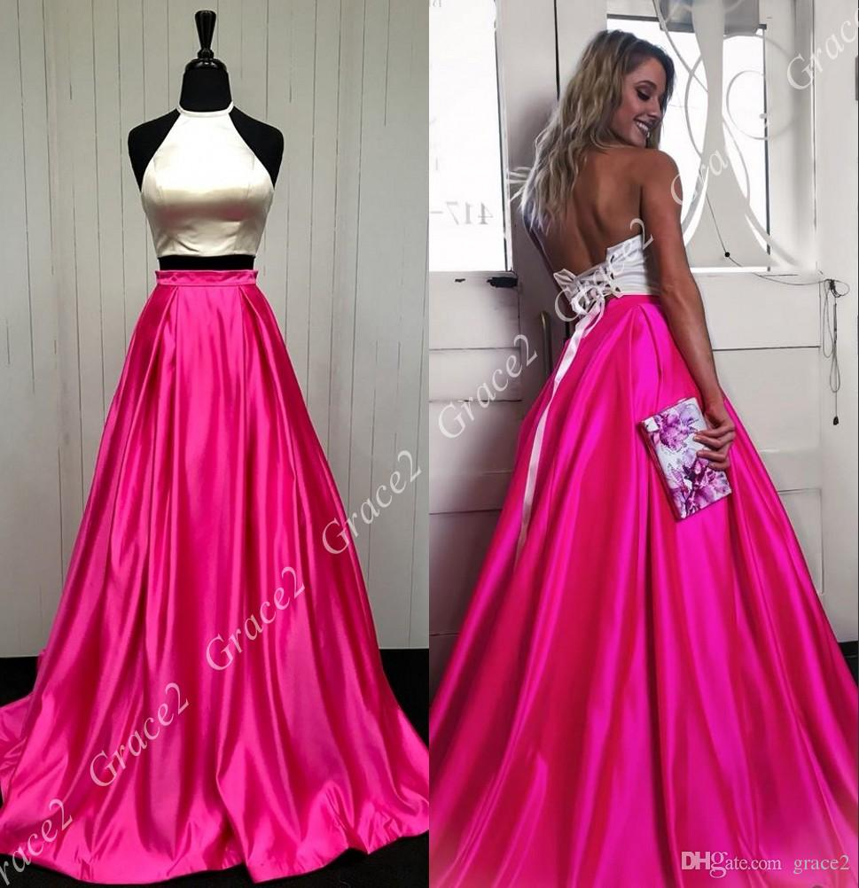 White/Fuchsia 2-Piece Prom Dresses 2018 Lace Up Back Full Length ...