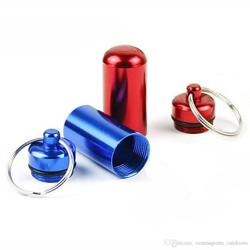 Hiking Outdoor Gadgets Aluminum Waterproof Pill Case Medicine Container Box Capsule Holder Key Ring Color Assorted