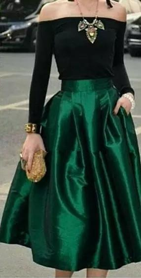 Dark Green Midi Skirts For Women High Waisted Ruched Satin Prom Dresses Tea Length Petite Cocktail Party Skirts Simple Women Formal Outfits