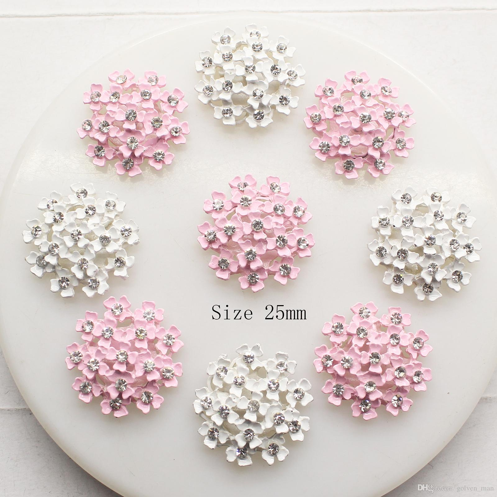 30pcs 25mm Alloy Metal Rhinestone Buttons for Clothing Craft for Scrapbooking Loose Beads for Wedding Decoration Hair Ribbon Accessories