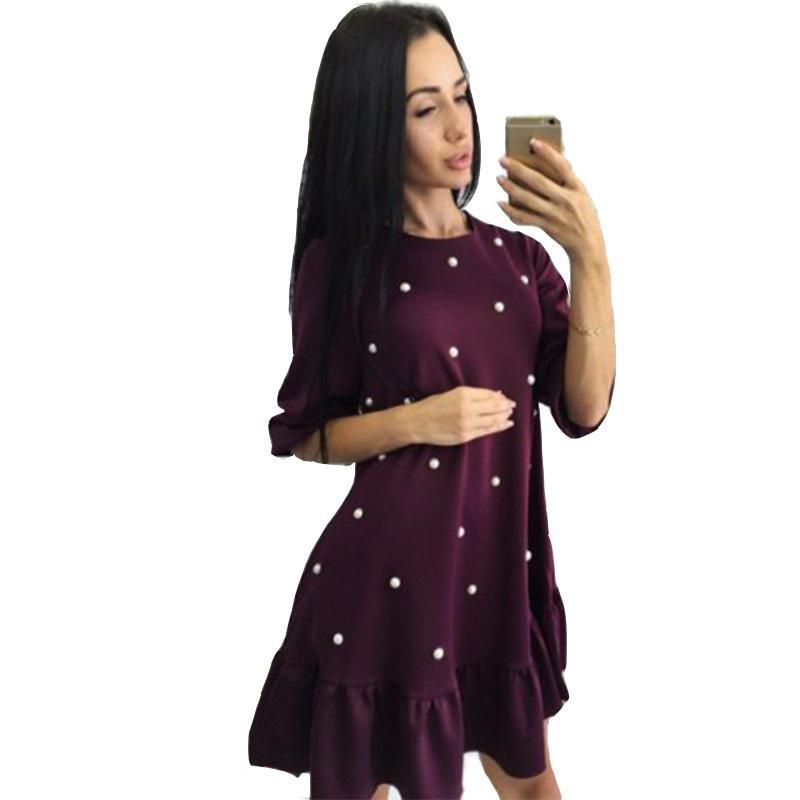 5e5e07a7a Compre Moda Feminina Beading Plissado Vestido Solto 2019 Outono Mulher Meia  Manga O Pescoço Mini Vestidos Senhoras Causal Bodycon Vestido De  Stephanie09