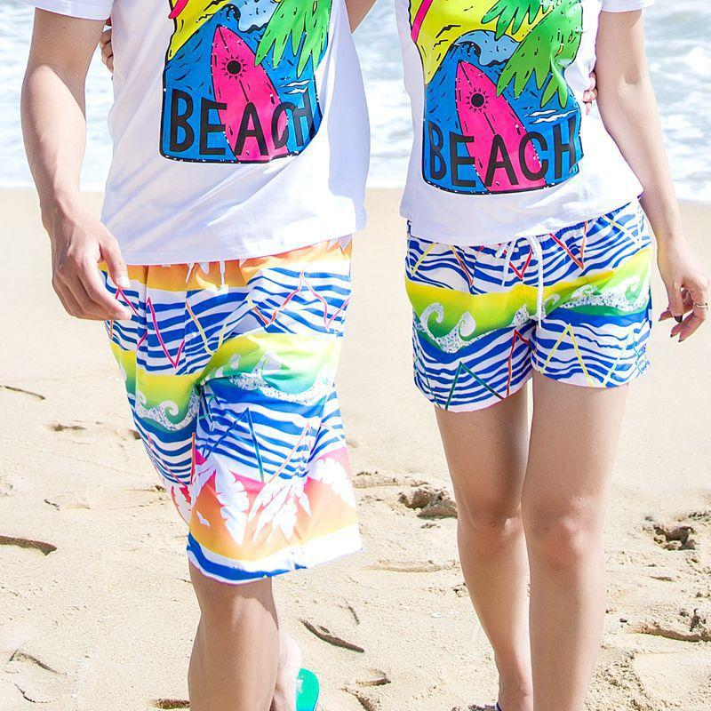 aafde22d6f 2019 New Lovers Swimwear Colorful Beach Swim Trunk Quick Dry Surf Beachwear  Women And Man Swimming Shorts Short Beach Shorts From Flowter, $35.63 |  DHgate.