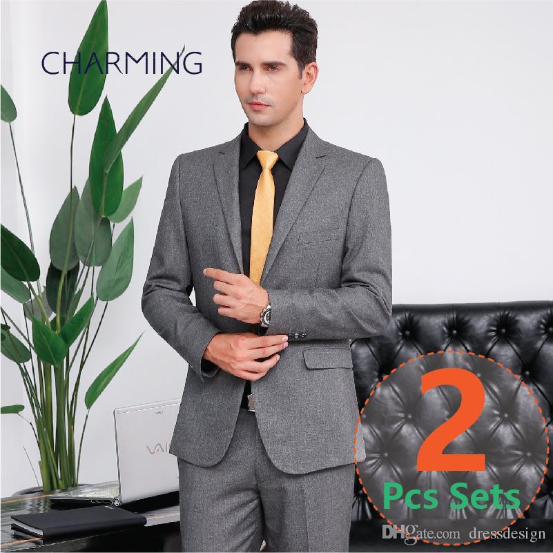 3383232e3de Grey Suit Mens Suitable For Modern Mens Suits Business Suits For Men Formal  Jackets Men Designer Mens Suit Package Jacket + Pants Black Mens Clothing  Dinner ...