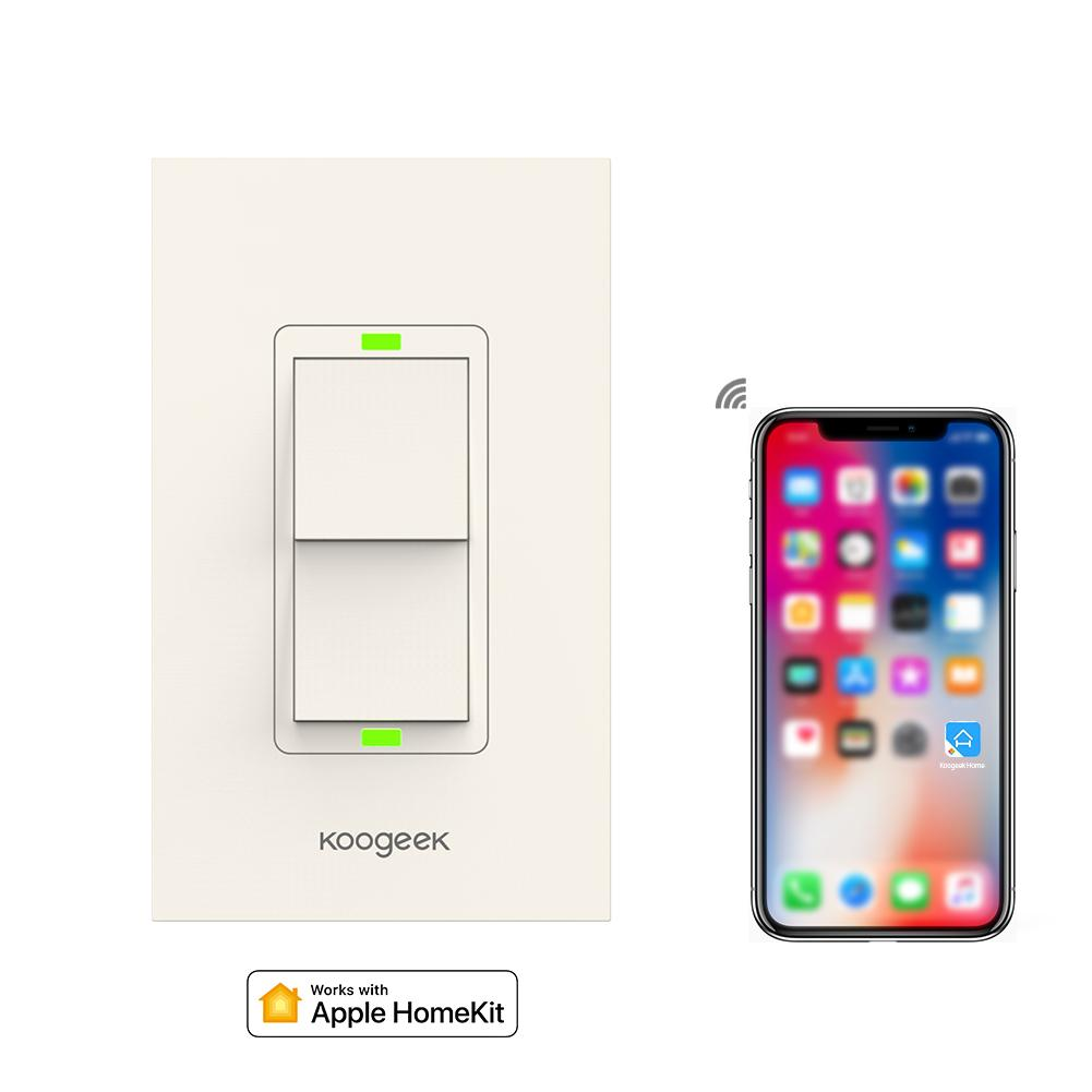 Koogeek Smart Wifi Switch Two Gang Light For Apple Homekit Way Wiring Diagram New Zealand Siri Remote Control Wall Power Consumption Monitor Home Solutions