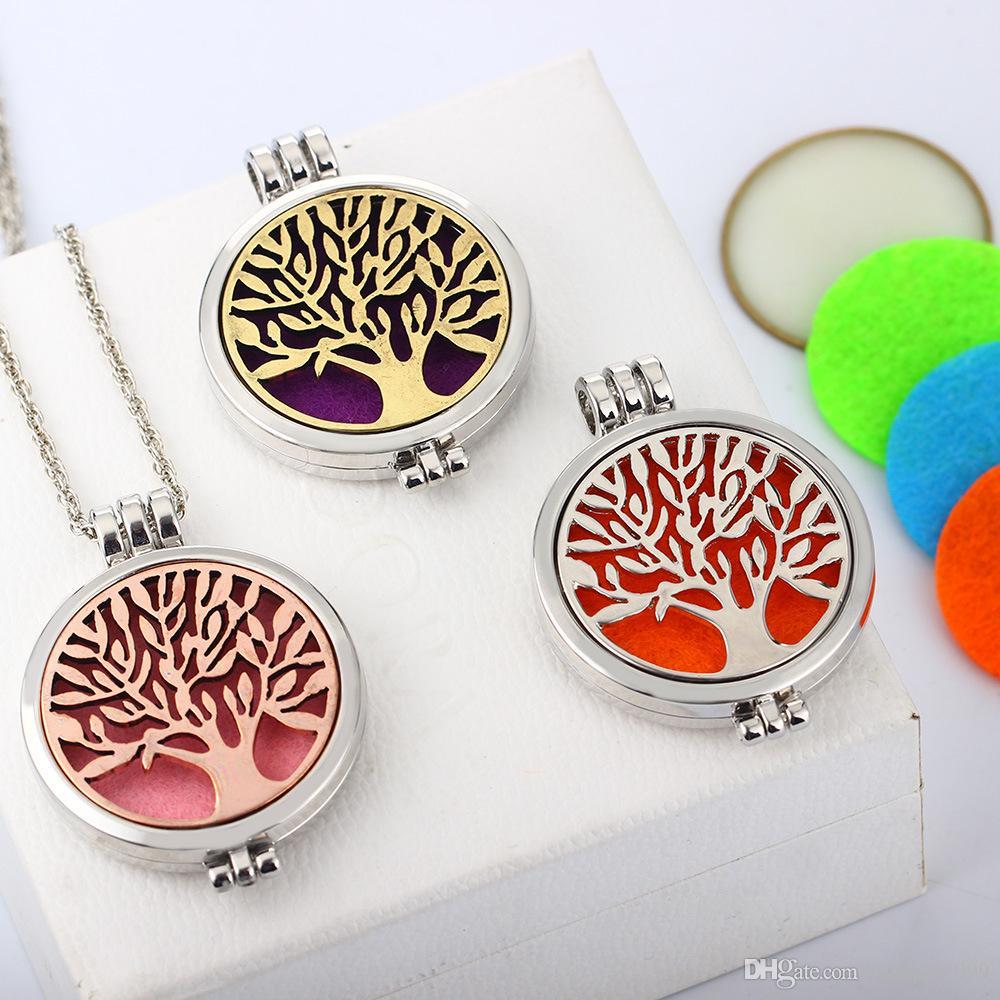 Albero della vita aromaterapia olio essenziale diffusore collana pendente medaglione in acciaio inossidabile 316L gioielli con 24