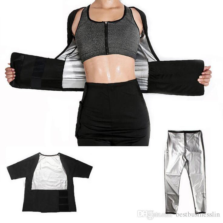 1 Set/Lot Sweaty Women Gym Wear Sport Suits for Fitness Clothing Yoga Set Weight Loss Body Shaping Sweating Jacket Sports Leggings
