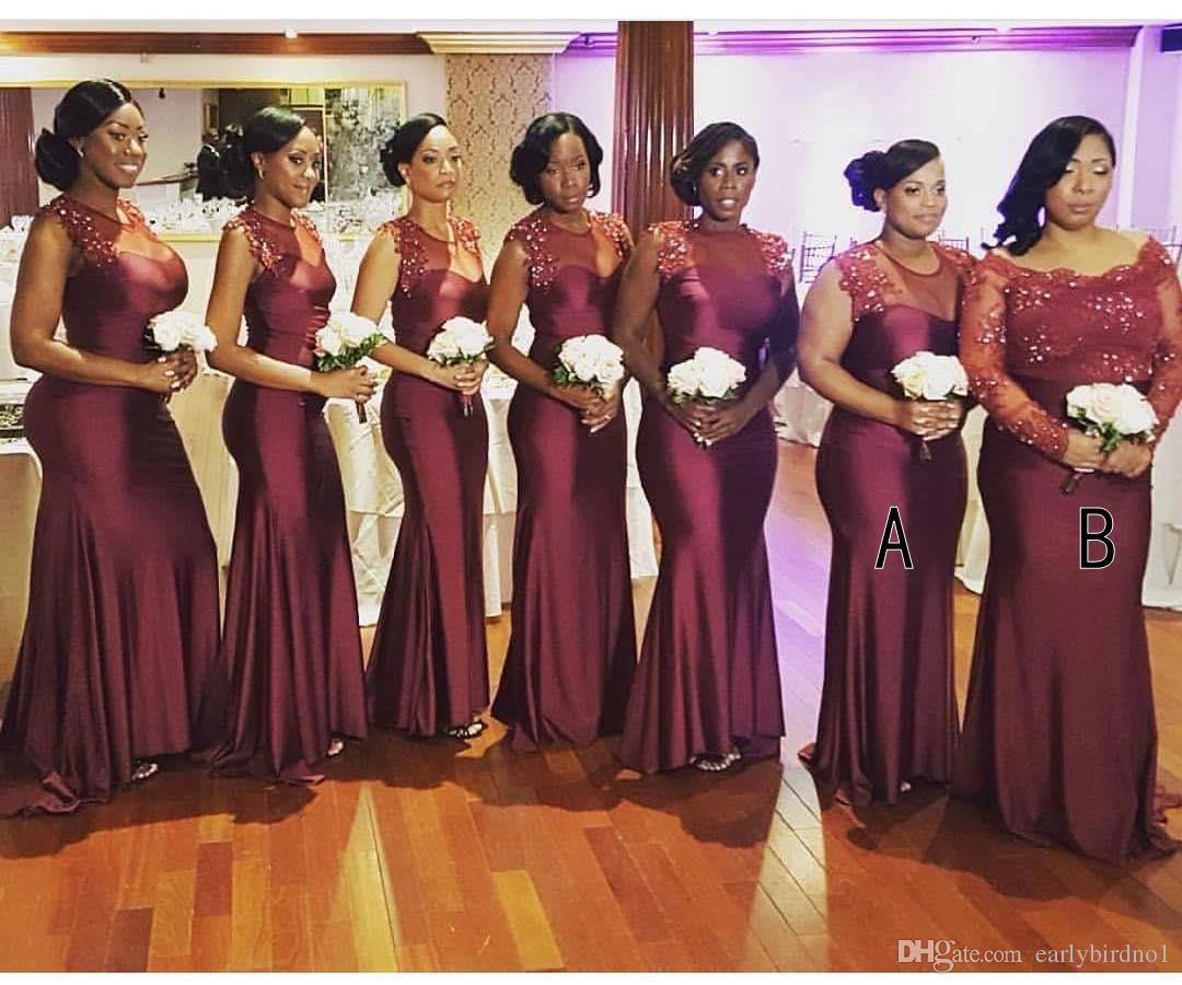Cheap Black N White Wedding Dresses: New African Burgundy Lace Beads Mermaid Bridesmaid Dresses