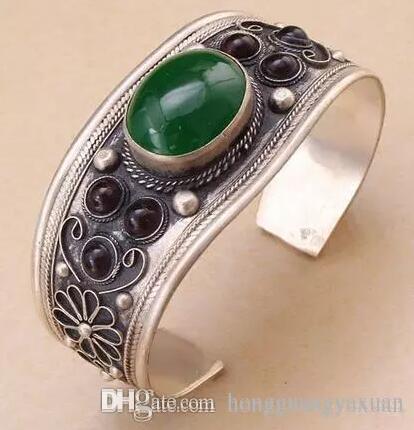 Unisex Vintage Garnet Verde Jade Bead Cuff Bracelet Bangle Tibet Prata Presente