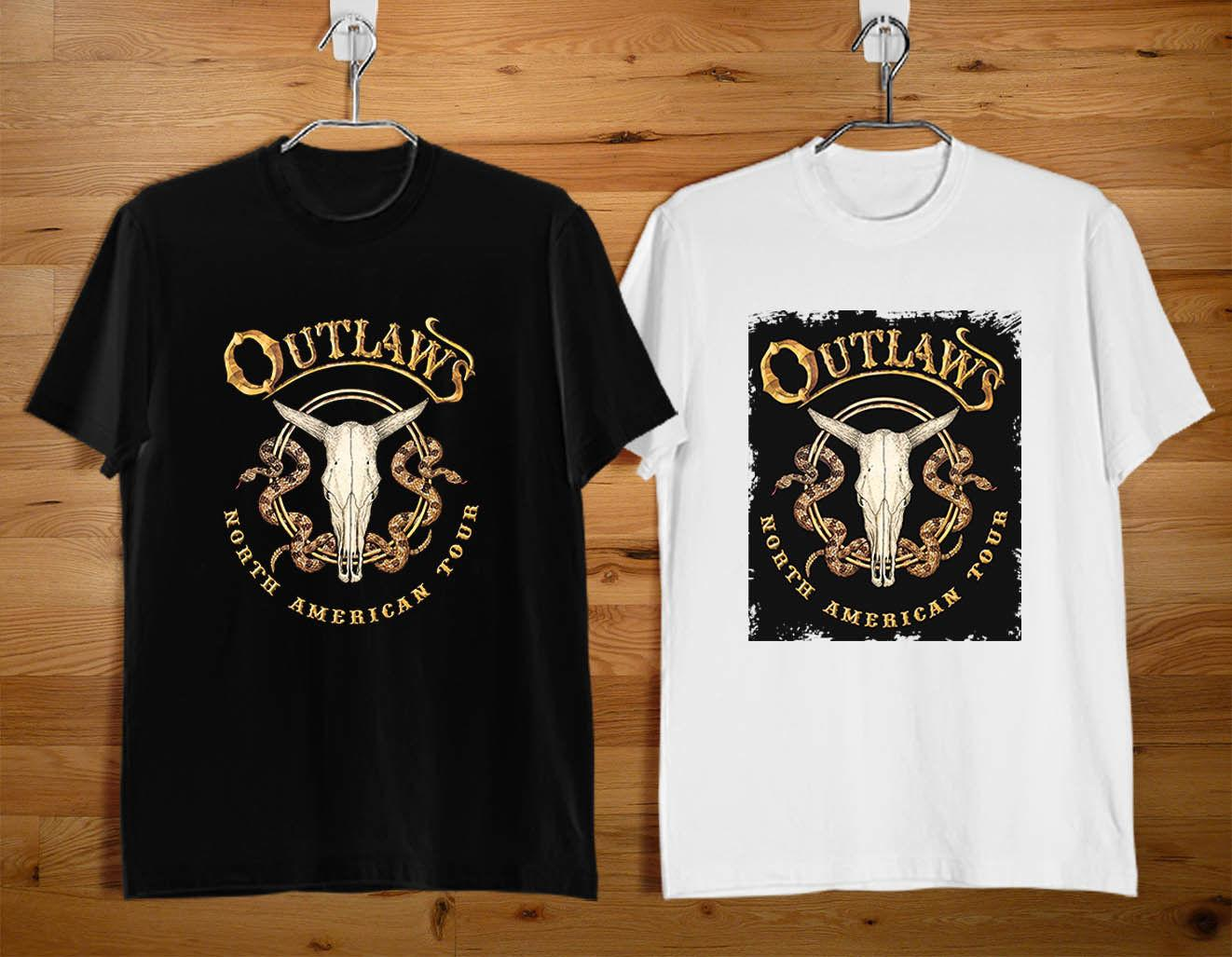 1SIDE THE OUTLAWS T-Shirt Southern Rock Band Logo Schwarz-Weiß-T-Shirt (XS-3XL)