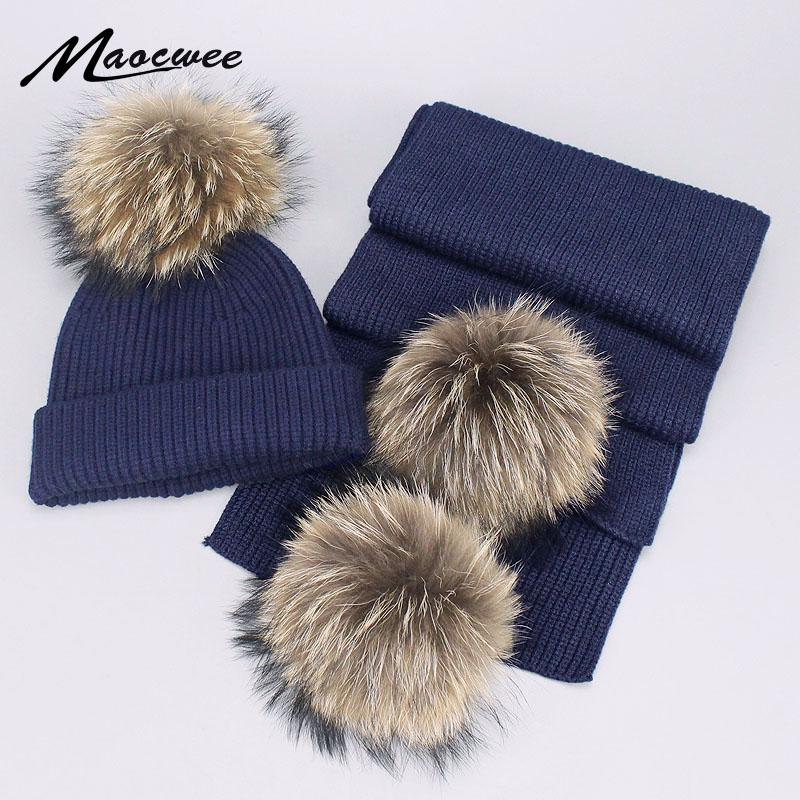 b2ab2c39225 Children Adult Parent-Child Winter Hat   Scarf Pom Poms Woman Hat Winter  Cap Warm Knit Cap Beanie Knitted Hats Scarfs For Girl Scarf Hat   Glove  Sets Cheap ...