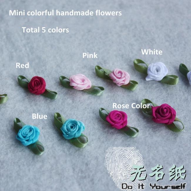 Grosshandel 15mmx 10mm Handmade Stoff Rose Dekoration Rot Rosa Blau