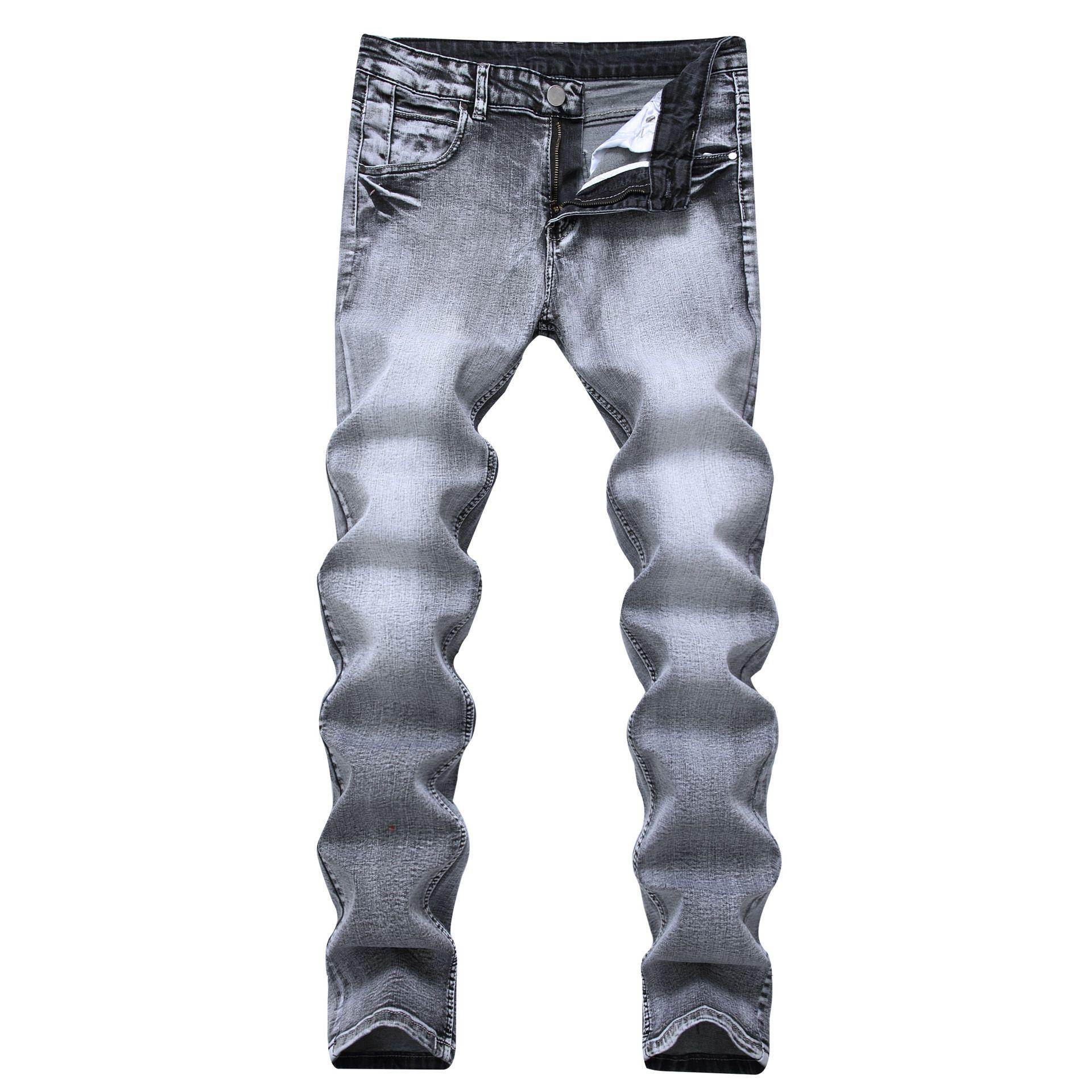 c71c54da8940 Compre Chegada Nova Moda Masculina Cinza Claro Calça Jeans Elástica Calças  Masculinas Retas Magro Calça Jeans Nostálgico Mid Cintura Jeans De  Clothesg220, ...