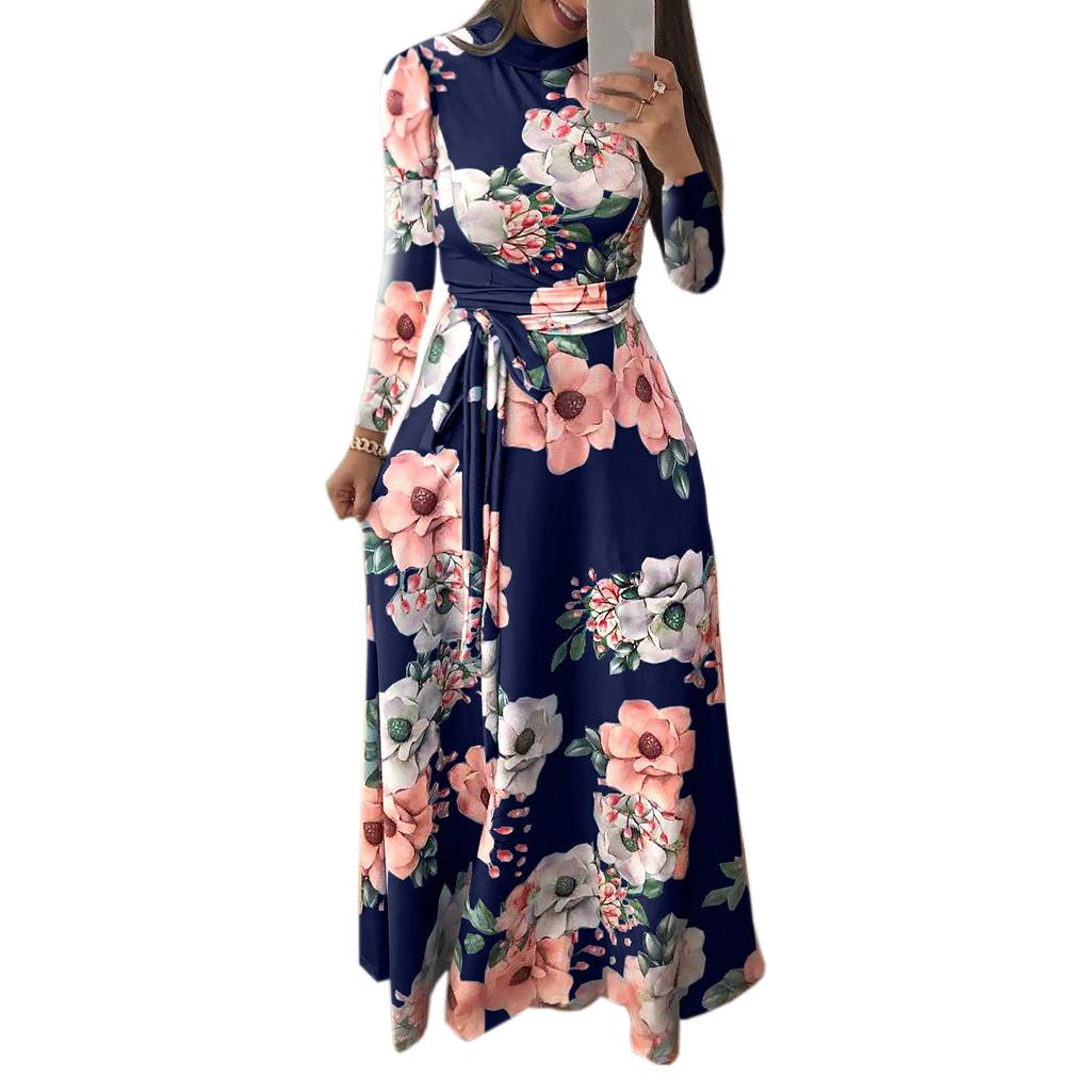 6300f3aed83af Mixi Long Dress Casual Printed Floral Dress Boho Party Dress Women  Turtleneck Winter Autumn Dresses Chic American Style M0188 Blue Party Dress  Plus Size ...