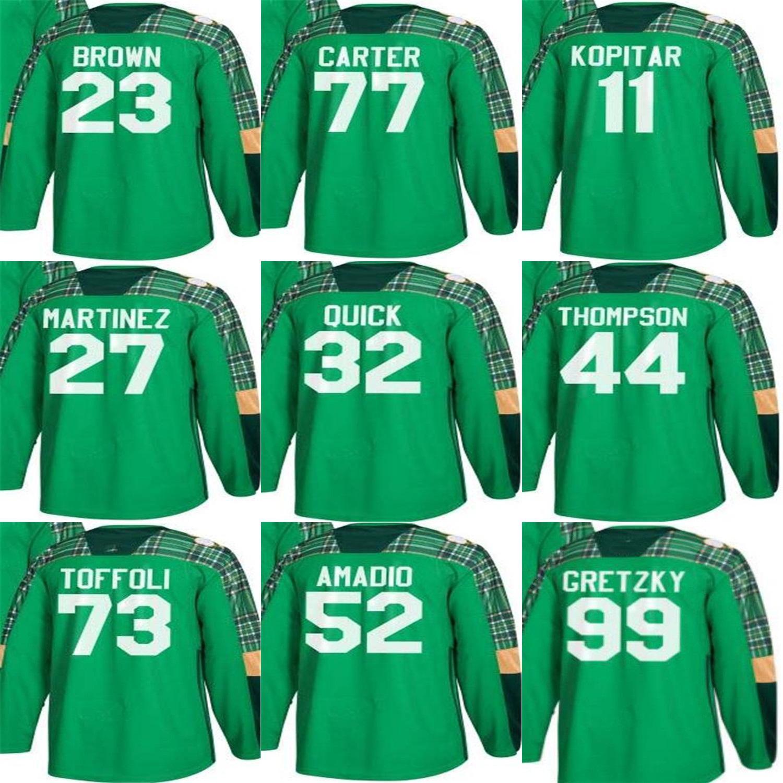 newest 813d1 9d8ba Green St. Patricks Day LA Kings Jerseys 32 Jonathan Quick Jeff Carter Anze  Kopitar 23 Dustin Brown 99 Wayne Gretzky 27 Alec Martinez