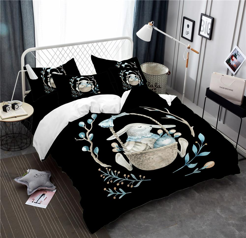 Großhandel Niedlichen Kaninchen Mit Korb Bettwäsche Set Blau