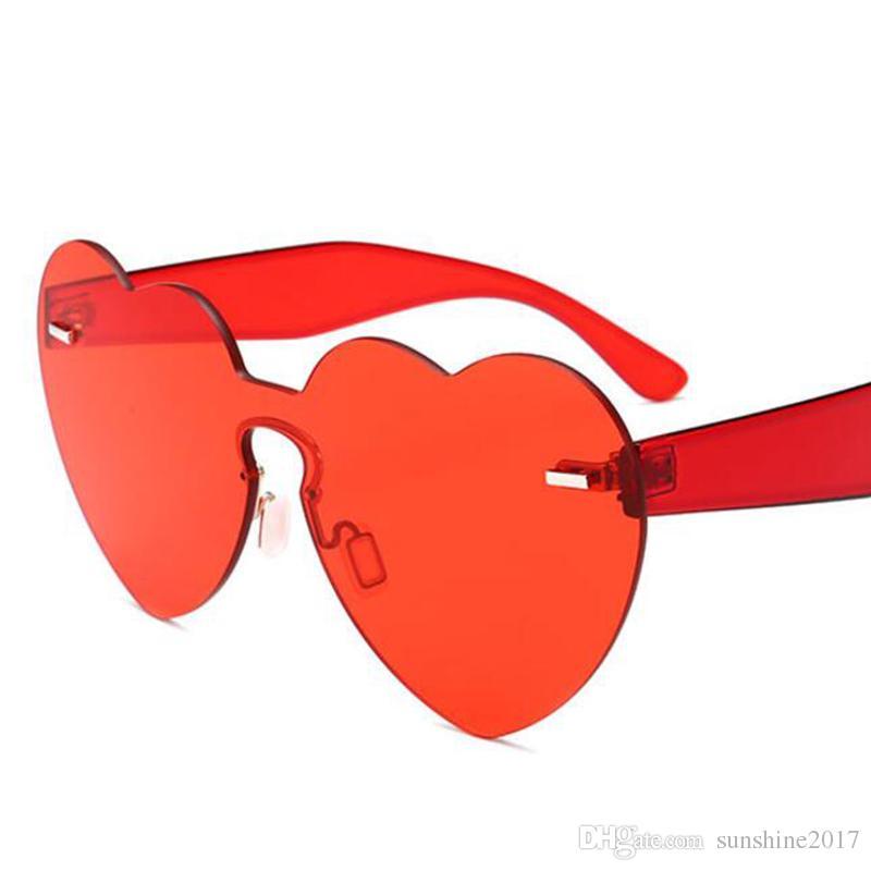 e7e7d0fa56 New Red Heart Sunglasses for Women 2018 Trendy Novelty Rimless Sun ...