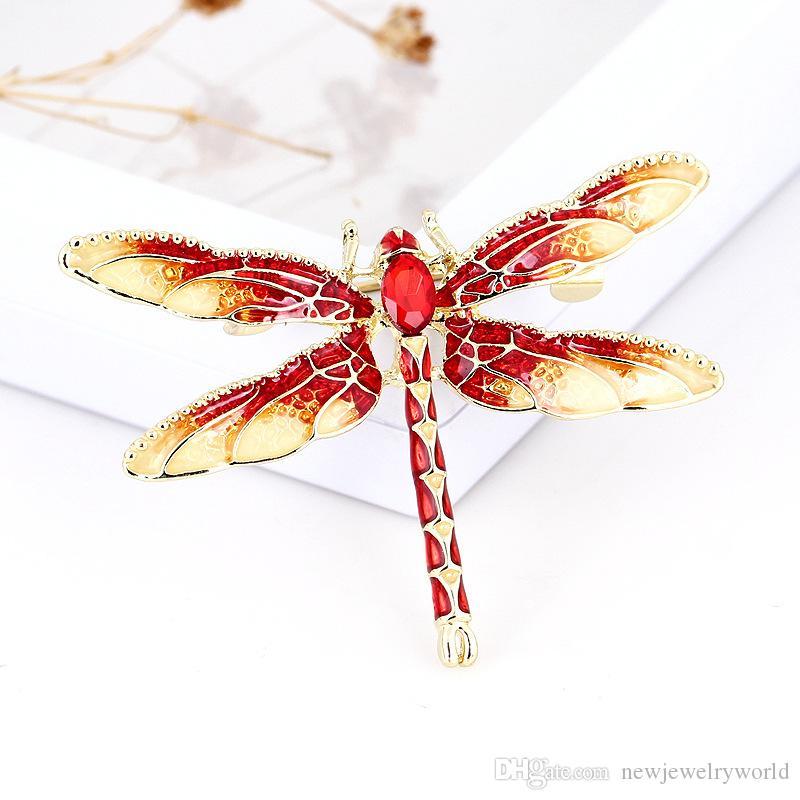 مدهش مطلية بالذهب سبائك رائعتين الألوان المينا اليعسوب بروش هدية اطرح خاص للأصدقاء جودة عالية النساء ملابس مجوهرات