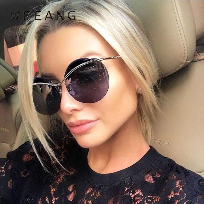 Compre WFEANG Marca Designer Red Rodada Óculos De Sol Mulheres Sem Moldura  Grande Quadro Vermelho Óculos De Sol Óculos De Sol Espelhado Moda Feminina  ... 0e22b882fe