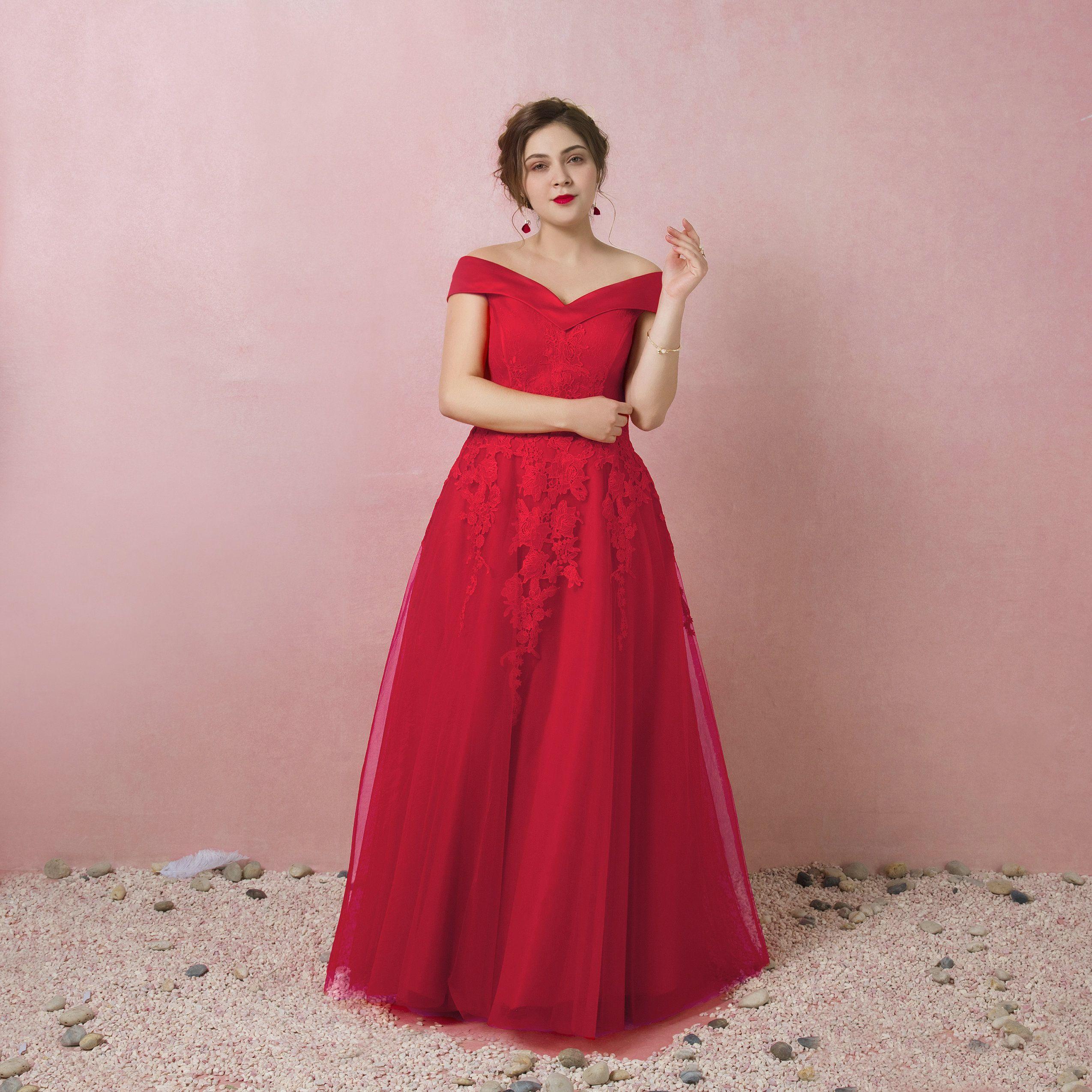 Compre Janevini 2018 Encantador Rojo Largo Prom Vestidos De Hombro ...