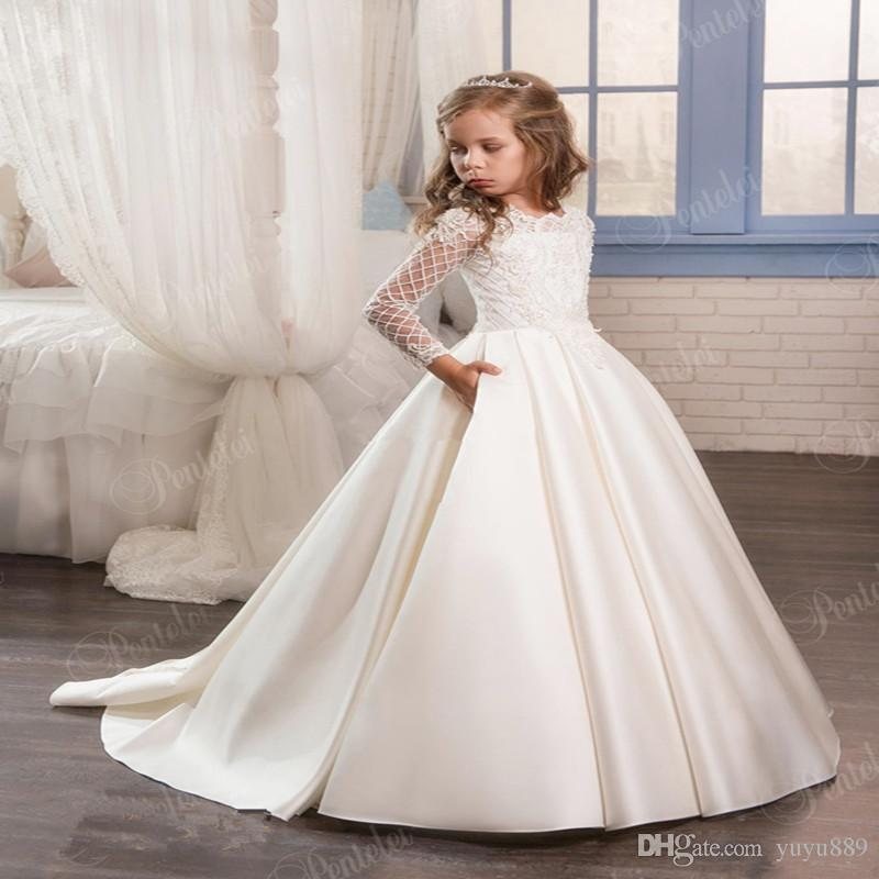 Девушки театрализованное платья девушки цветка платья для свадьбы формальная одежда шампанское дети принцесса платье лук девушка день рождения платья