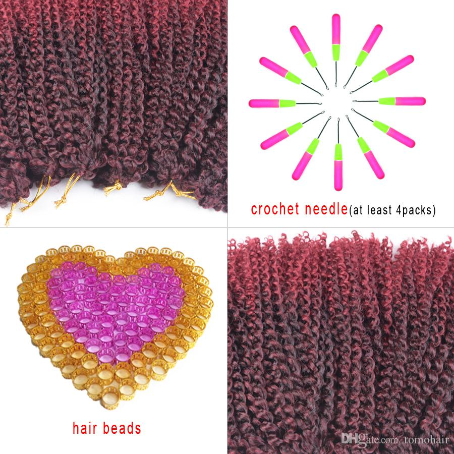 TOMO Ombre Brown Or Burgundy Crochet Braids Hair Synthetic 12 Inch Curly Braid For Black Or White Woman Braiding Hair Extentions