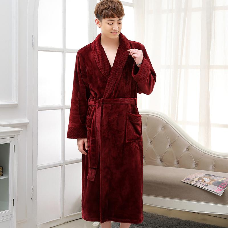 2019 Hot Selling Men Winter Classic Long Warm Bathrobe Mens Soft Flannel Coral  Fleece Robes Thick Kimono Bath Robe Male Dressing Gown From Candice98 20a51fa91