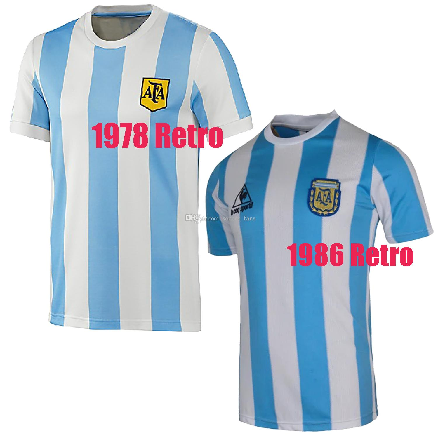 7c9e6e80f49 2019 Retro Version 1986 Argentina Retro Home Soccer Jersey 10 Messi Maradona  CANIGGIA 1978 Quality Football Shirt Uniforms Football Jerseys Shirt From  ...