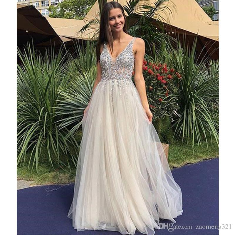 fd4801bc872e6 Champagne V Neck Tulle Beads Sequin Long Prom Dress A Line Sex Evening  Dress Custom Made Multi Colored Prom Dresses Old Hollywood Prom Dresses  From ...