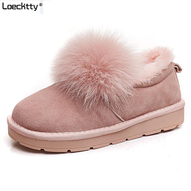 14009dbcf6fa Warm Fur Women Snow Boots Cute Suede Winter Shoes Fur Ball Mid Calf Boots  Female Fashion Boots Non Slip Snow Casual Shoe Black Boots For Girls Fur  Boots ...