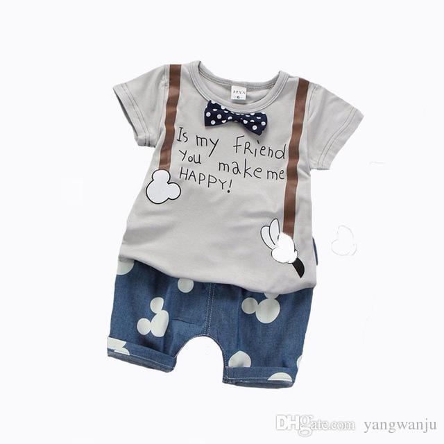 b1971b7a5 Compre 2018 Ropa De Verano Para Niños Bebés Varones Traje De Impresión  Camiseta + Pantalón De Ratón 2 Unids Bebé Niño Ropa Set Roupa Infantil  Juego De Niño ...