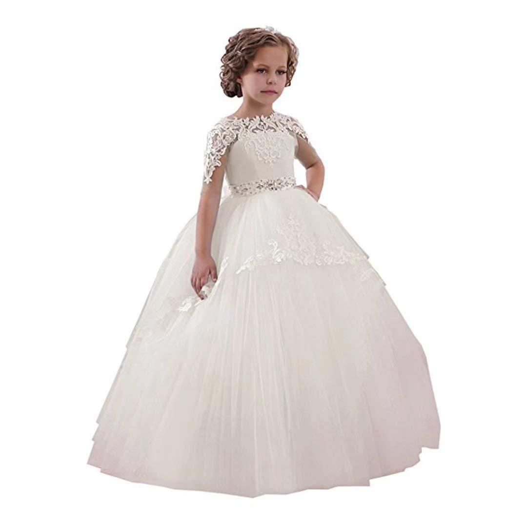 ca743b85cf7 Acheter Robe De Demoiselle D honneur Nouveau Anniversaire Fleur De Bal  Tulle Petite Fille Blanc Bleu Première Robe De Communion Formelle De  68.35  Du Joohua ...