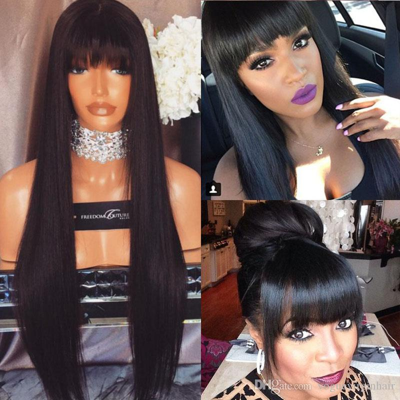 20b6aa1af53 9A Human Hair Wig Full Bangs Silky Straight Unprocessed Virgin Lace Front  Wigs Black Women Brazilian Full Lace Wig With Baby Hair Short Hair Wig  Affordable ...