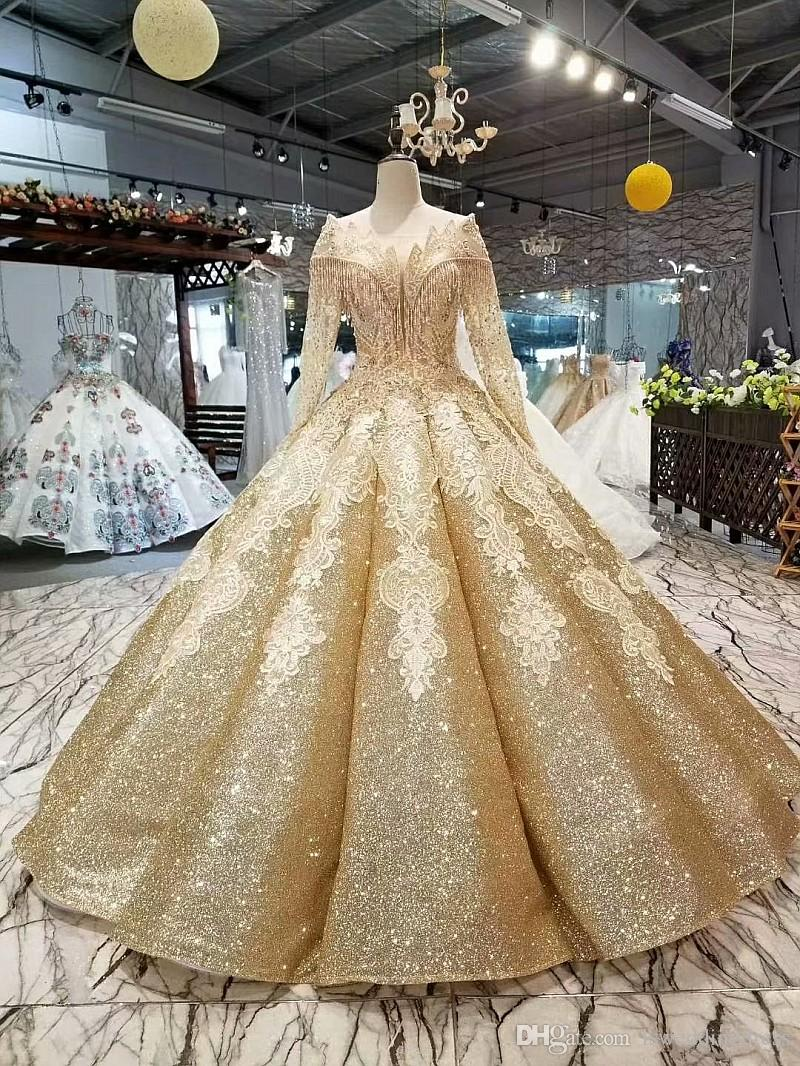 2019 Shiny Golden Curve Shape Evening Dresses Special O-Neck Long Tulle Sleeves Lace Up Floor Length Ball Gown Bling Evening Party Dresses